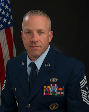 Portrait of 130th Airlift Wing Command Chief Kevin Cecil.
