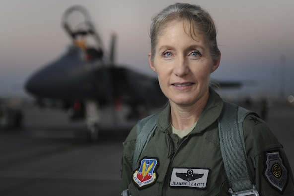 Brig. Gen. Jeannie Leavitt, 57th Wing commander, Nellis Air Force Base, Nev., poses for a portrait on the flightline July 15, 2016. Leavitt is responsible for 34 squadrons at 13 installations constituting the Air Force's most diverse flying wing. (U.S. Air Force photo by Airman 1st Class Kevin Tanenbaum)