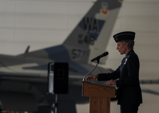 Brig. Gen. Jeannie Leavitt, 57th Wing commander, Nellis Air Force Base, Nev., speaks at a change of command for 57th Adversary Tactics Group, August 5, 2016. General Leavitt entered the Air Force in 1992 after earning her bachelor's degree in aerospace engineering from the University of Texas and her master's degree in aeronautics and astronautics from Stanford University. (U.S. Air Force photo by Airman 1st Class Kevin Tanenbaum)