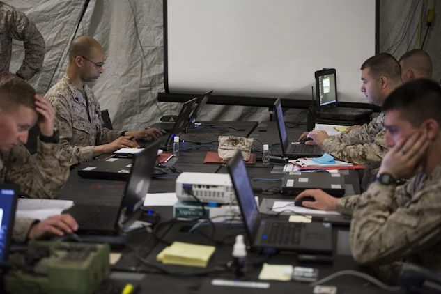 The Marine Corps fielded its first tactical information system to come standard with Windows 10 in February. The Combat Operations Center software release 6.0.4 and accompanying hardware deliver improved security and efficiency to Marines in the fleet. The release refreshed computers and software used in Marine combat operations centers, which are tent facilities that serve as the hub for command and control for Marine Corps operations ashore. (U.S. Marine Corps photo by Lance Cpl. Melissa Martens)