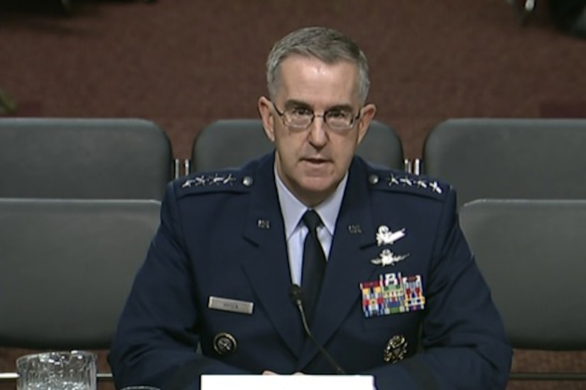 Air Force Gen. John E. Hyten, commander of U.S. Strategic Command, testifies before the Senate Armed Services Committee in Washington, April 4, 2017.