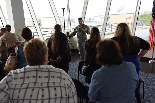 Staff Sgt. Jacob Hale, 335th Training Squadron instructor, briefs educators on weather training equipment at the Weather Training Complex during a NASA Educator Workshop, March 30, 2017, on Keesler Air Force Base, Miss. NASA teamed up with 335th TRS weather instructors and the 403rd Wing Hurricane Hunters to provide teachers from Mississippi and Louisiana with available resources, techniques and best practices for use in their classrooms. (U.S. Air Force photo by Kemberly Groue)