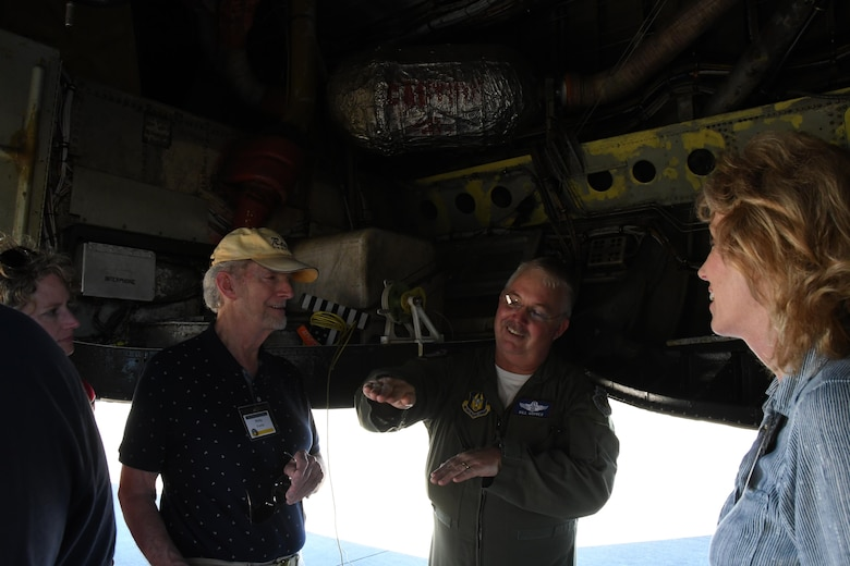 Lt. Col. William Groves, assigned to the 93rd Bomb Squadron, 307th Bomb Wing, Barksdale Air Force Base, La., tells a group of 307th BW alumni about the B-52 Stratofortress during a base tour on Barksdale AFB, March 31, 2017. The alumni were invited to the base for a tour during a reunion to celebrate the 75th anniversary of the unit. (U.S. Air Force photo by Staff Sgt. Callie Ware/Released)