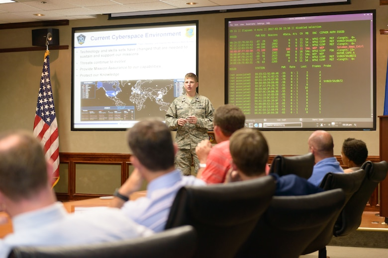 Lt. Col. Nathaniel Huston, 333rd Training Squadron commander, briefs 81st Training Wing honorary commanders on the 333rd TRS mission at Stennis Hall, Mar. 30, 2017, on Keesler Air Force Base, Miss. The visit highlighted the training mission of the 81st Training Group for 81st TRW honorary commanders. (U.S. Air Force photo by Andre' Askew)