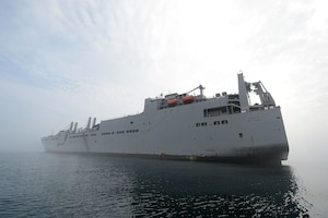 The large, medium-speed roll-on/roll-off ship USNS Red Cloud participates in Combined Joint Logistics Over-the-Shore 2015 at Anmyeon Beach, South Korea, June 30, 2015. CJLOTS 2015 was an exercise designed to train U.S. and South Korean service members to accomplish vital logistical measures in a strategic area while strengthening communication and cooperation in the U.S.-South Korean alliance. Navy photo by Petty Officer 1st Class Joshua Scott