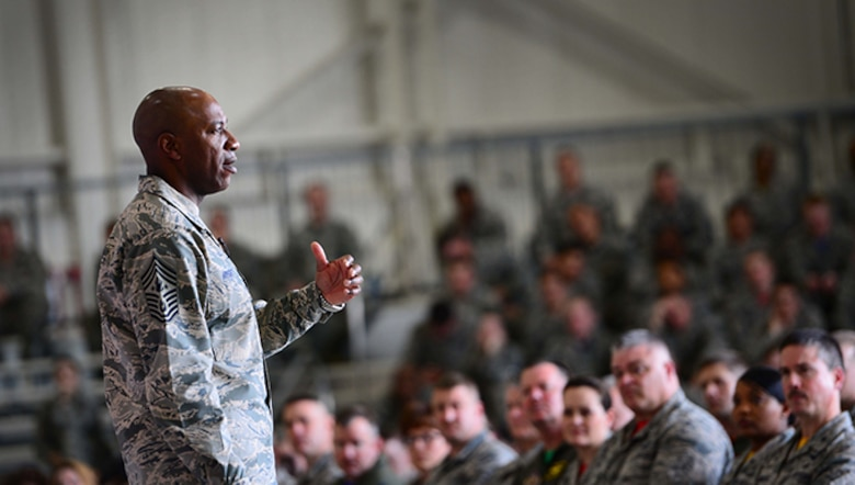 Chief Master Sgt. of the Air Force Kaleth O. Wright, visits Whiteman Air Force Base, Mo., for an all-call where he spoke with hundreds of Airmen conveying his strategic messages on March 17, 2017. Wright took questions from a dozen Airmen ranging from policy to quality of life. The CMSAF serves as a personal advisor to the Air Force Chief of Staff and Secretary of the Air Force on all issues regarding the welfare, readiness, morale, proper utilization, and progress of the enlisted force and their families. (U.S. Air Force photo/Tech Sgt. Andy M. Kin)