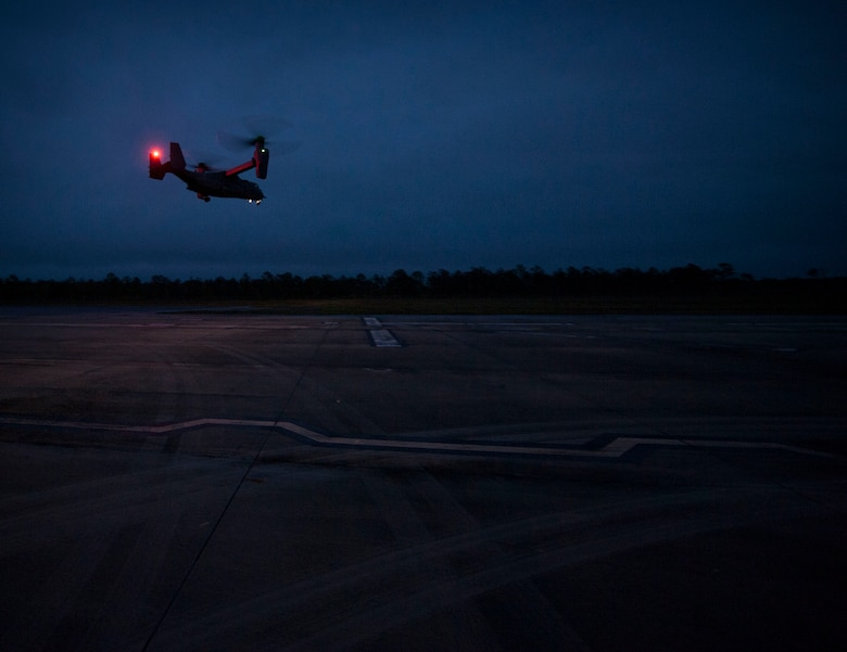 A CV-22 Osprey approaches the Landing Helicopter Deck at Duke Field, Fla., April 3, 2017. The LHD will serve as part of the aircraft carrier qualification, decreasing the amount of time 8th Special Operations Squadron and 8th Aircraft Maintenance Unit personnel spend off station to fulfill the requirement. Additionally, the LHD has the potential to save the Air Force $2.2 million annually. (U.S. Air Force photo by Senior Airman Krystal M. Garrett)