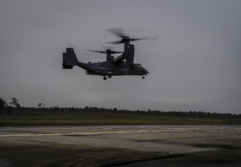A CV-22 Osprey approaches the Landing Helicopter Deck at Duke Field, Fla., April 3, 2017. This was the first step in an effort to utilize the LHD as part of a pre-deployment requirement for CV-22 aircrew to be deck qualified. In previous years, members of the 8th Special Operations Squadron and 8th Aircraft Maintenance Unit would travel to various locations multiple times a year to gain aircraft carrier qualification. (U.S. Air Force photo by Airman 1st Class Isaac O. Guest IV)