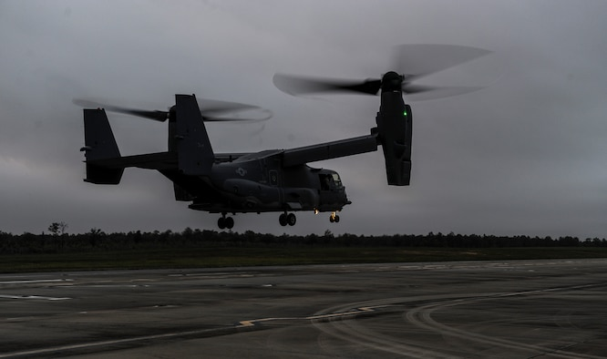 A CV-22 Osprey descends on the Landing Helicopter Deck at Duke Field, Fla., April 3, 2017. The LHD will serve as part of the aircraft carrier qualification, decreasing the amount of time 8th Special Operations Squadron and 8th Aircraft Maintenance Unit personnel spend off station to fulfill the requirement. The LHD has the potential to save the Air Force $2.2 million annually. (U.S. Air Force photo by Airman 1st Class Isaac O. Guest IV)