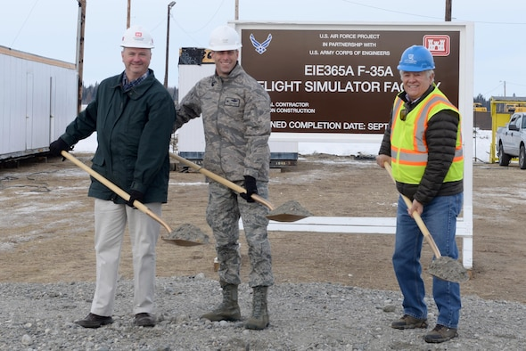 On March 29, Eielson broke ground for the F-35A Lightning II flight simulator facility, which marks the beginning of improvements to the base's infrastructure in order to house the new aircraft. Since Eielson's selection to be the Air Force's first operational overseas F-35A location, there has been a lot of work done to prepare for their arrival. Preparations include construction and renovations planned in support of 54 F-35s and approximately 3,500 Airman, contractors and their families. (U.S Air Force photo by Airman Eric M. Fisher)