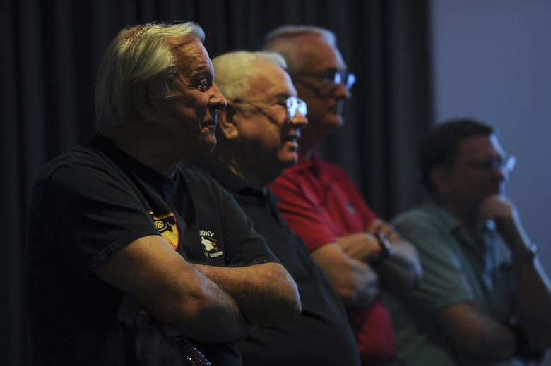 Retired Chief Master Sgt. Norman Evans, left, attends the celebration of the 50th Anniversary of the AC-130 at Hurlburt Field, Fla., March 31, 2017. Evans served in the Vietnam War as a sensor operator who flew on several aircraft including the AC-47 Spooky gunship, the AC-119 Shadow gunship and the AC-130A Spectre gunship. (U.S. Air Force photo by Airman 1st Class Dennis Spain)