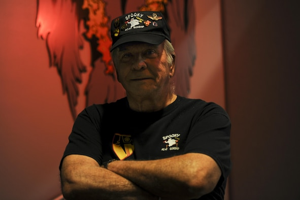 Retired Chief Master Sgt. Norman Evans, attends the celebration of the 50th Anniversary of the AC-130 at Hurlburt Field, Fla., March 31, 2017. Evans served in the Vietnam War as a sensor operator who flew on several aircraft including the AC-47 Spooky gunship, the AC-119 Shadow gunship and the AC-130A Spectre gunship. (U.S. Air Force photo by Airman 1st Class Dennis Spain)