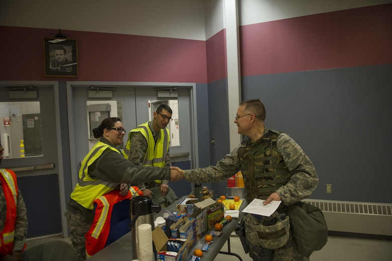 U.S. Air Force Col. Richard Cole, the 354th Mission Support Group commander and Deployed Forces commander for Arctic Gold 17-5, speaks with members of the base chapel about services offered to those deploying April 4, 2017, at Eielson Air Force Base, Alaska. In times when Airmen are deployed, the Chapel offers a number of services, such as counseling, to Airmen and their families. (U.S. Air Force photo by Airman 1st Class Isaac Johnson)