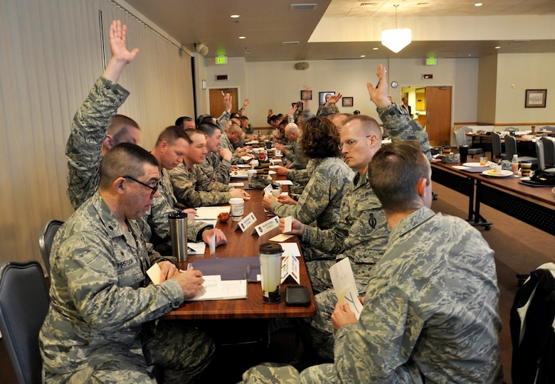 Lt. Col. Timothy Christison, 90th Medical Support Squadron commander, takes notes during a group activity at the 20th Air Force Senior Leader Conference on F.E. Warren Air Force Base, Wyo., March 30, 2017. Squadron commanders within the command networked and discussed ways to improve mission execution and the quality of life for their Airmen. The 20th AF SLC focused on revitalizing the squadron as a core fighting unit, a major focus area of Gen. David L. Goldfein, Air Force Chief of Staff.  (U.S. Air Force photo by 1st Lt Veronica Perez)