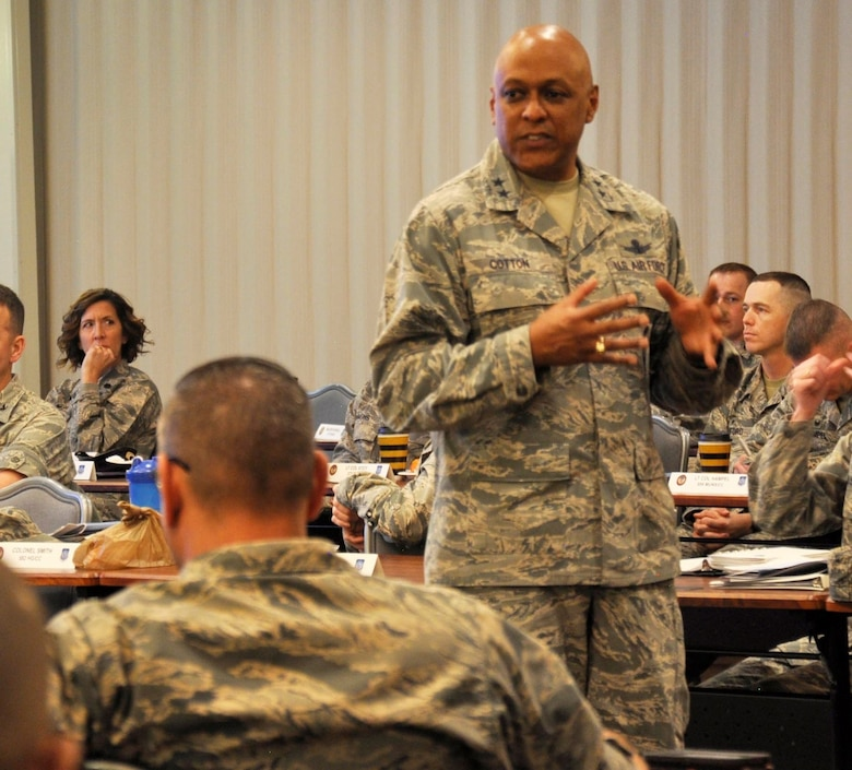 Maj. Gen. Anthony Cotton, 20th Air Force and Task Force 214 commander, addresses his commanders during the 20th AF Senior Leader Conference on F.E. Warren Air Force Base, Wyo., March 30, 2017. Cotton updated commanders on his focus areas and goals, to include heritage and quality of life initiatives. The 20th AF SLC focused on revitalizing the squadron as a core fighting unit, a major focus area of Gen. David L. Goldfein, Air Force Chief of Staff.  (U.S. Air Force photo by 1st Lt Veronica Perez)