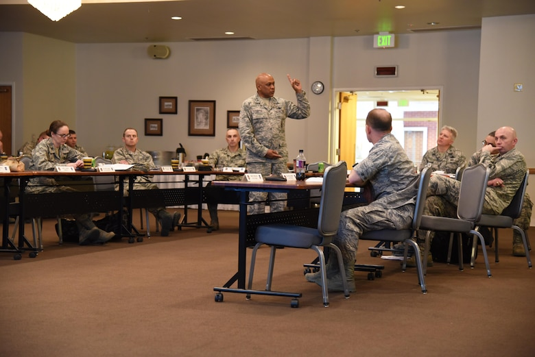 Maj. Gen. Anthony Cotton, 20th Air Force and Task Force 214 commander, addresses his wing commanders and squadron commanders during the 20th AF Senior Leader Conference on F.E. Warren Air Force Base, Wyo., March 30, 2017. Discussion topics included Year of the Family programs, unit heritage initiatives and updates on professional development and mission operations. The 20th AF SLC focused on revitalizing the squadron as a core fighting unit, a major focus area of Gen. David L. Goldfein, Air Force Chief of Staff.  (U.S. Air Force photo by Glenn Robertson)