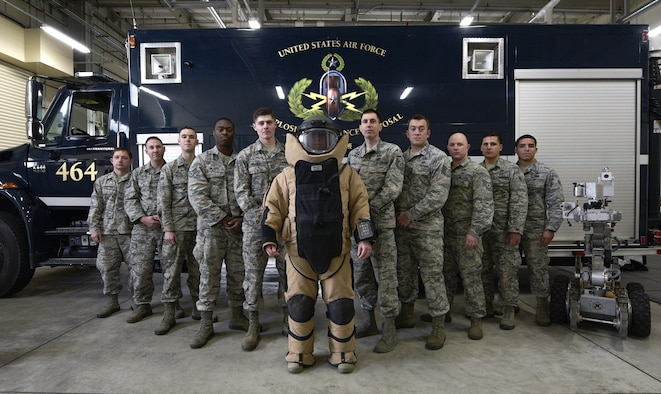 The 35th Civil Engineer Squadron Explosive Ordnance Disposal flight pause for a group photo at Misawa Air Force Base, Japan, April 3, 2017. The EOD flight received the Senior Master Sgt. Gerald J. Stryzak Award. The annual award recognizes the EOD flight that distinguished itself as the year's top performer through sustained superior mission support and outstanding achievement. (U.S. Air Force photo by Staff Sgt. Melanie A. Hutto)