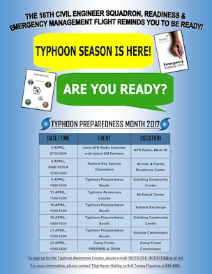 A flyer for Typhoon Preparedness Month. The 18th Civil Engineer Squadron's emergency management flight conducted events and trainings to inform the base population of readiness information regarding typhoons and typhoon season. (courtesy graphic)