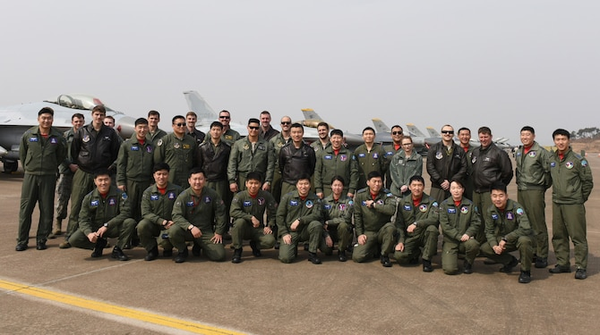 U.S. Air Force and Republic of Korea Air Force members pose for a photo at Seosan Air Base, Republic of Korea during Buddy Wing 17-3, March 30, 2017. This training is a Buddy Wing exercise, a regularly-scheduled exercise that occurs several times a year. It is based on realistic tactical requirements and missions expected of our ROK-U.S. combined and joint forces assuming various threats. (Courtesy photo)