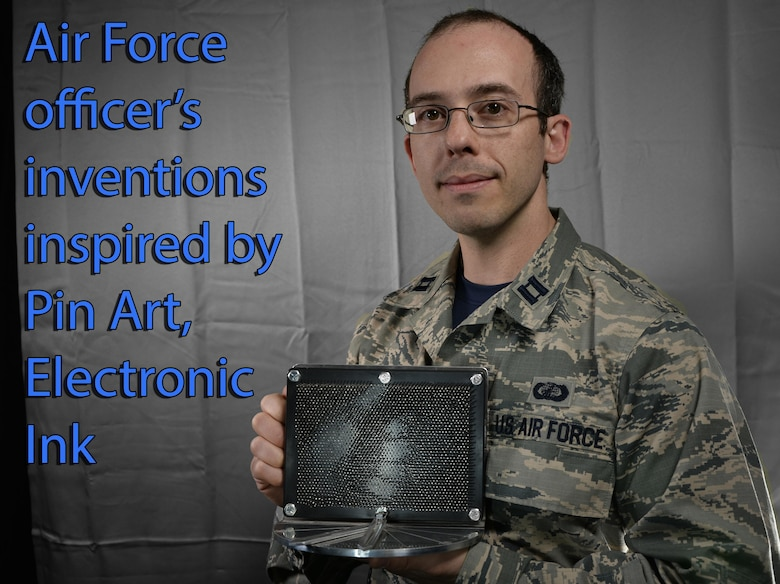 """Capt. Daniel Stambovsky, a physicist assigned to the 32nd Intelligence Squadron at Fort Meade, Maryland, recently received notification that two of patents from his previous assignment at the Air Force Research Laboratory in Rome, New York, have been processed and approved: the """"Actuated Pin Antenna Reflector"""" and the """"Radio Frequency Emissive Display Antenna and System for Controlling."""" (U.S. Air Force graphic/Staff Sgt. AJ Hyatt)"""
