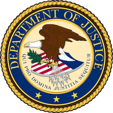 The U.S. Department of Justice selected three Air Force Office of Special Investigations Special Agents for awards to recognize their stellar efforts supporting the DoJ mission (U.S. Dept. of Justice graphic)