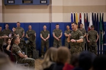 U.S. Marine Corps Lt. Col. Brett T. McGinley, commanding officer of Infantry Training Battalion, School of Infantry-East, addresses guests during the Bravo Company graduation aboard Camp Geiger, N.C., March 23, 2017. Lt. Col. McGinley spoke to the friends and families of the Marines who graduated that day. (U.S. Marine Corps photo by Cpl. Laura Mercado)