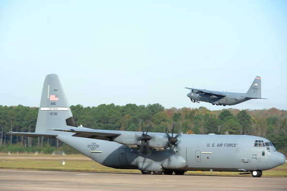 A C-130J taxis on the flightline as part of an 11-ship C-130J formation Oct. 24, 2016, at Little Rock Air Force Base, Ark. Little Rock AFB is home to the largest C-130 fleet in the world. (U.S. Air Force photo by Airman Grace Nichols)