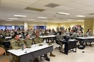 Observer coach/trainers assigned to the Army Reserve's 3/335th Training Support Battalion pre-pare to conduct a briefing after arriving to Fort Hood, Texas for a mobilization there, March 27, 2017. The 3/335th TSBn recently arrived to Fort Hood for a one-year mobilization to train Army Reserve and National Guard units for overseas deployments in support of operational needs of the Army and our joint partners. (U.S. Army photo by Sgt. Aaron Berogan)