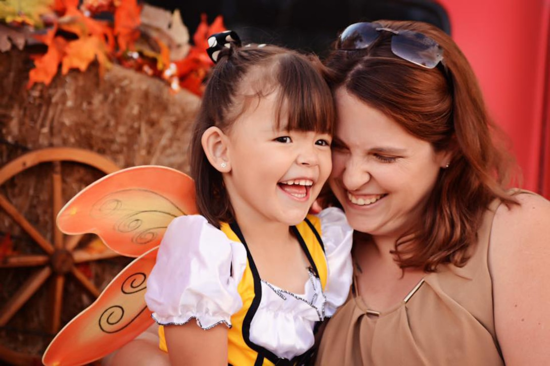 LAS VEGAS — Shellie-Anne Espinosa, 21st Space Wing public affairs specialist, helps her daughter, Rebekah Espinosa, celebrate Halloween in Las Vegas, October 2015. Rebekah was diagnosed with autism spectrum disorder when she was four years old. (courtesy photo)