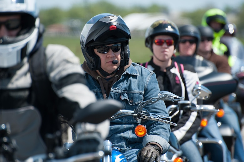 Riders line up for a 35-mile group ride from the grounds of the National Museum of the United States Air Force as part of Wright-Patterson Motorcycle Safety Day May 6, 2016. (U.S. Air Force photo/John Harrington)