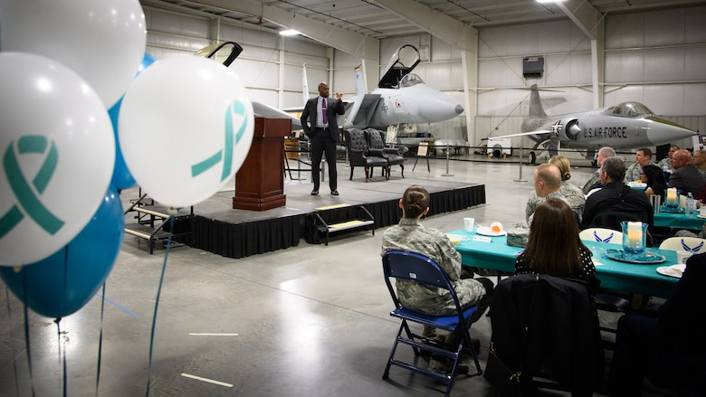 Timothy Jones, a U.S. Navy veteran, speaks at the second annual Sexual Assault and Prevention Month Breakfast at the Hill Aerospace Museum, April 4, 2017. The event served as an opportunity for base personnel and community partners to meet and kick off Sexual Assault Awareness and Prevention Month. (U.S. Air Force photo/R. Nial Bradshaw)