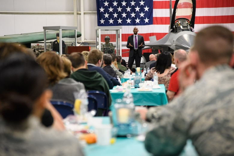 Timothy Jones, a U.S. Navy veteran, speaks at the second annual Sexual Assault and Prevention Month Breakfast, Hill Aerospace Museum, Utah, April 4, 2017. Jones was sexually assaulted in 1999 while in the Navy and today makes military organizations aware of the nature of sexual assault by speaking to them of his experiences. (U.S. Air Force photo/R. Nial Bradshaw)