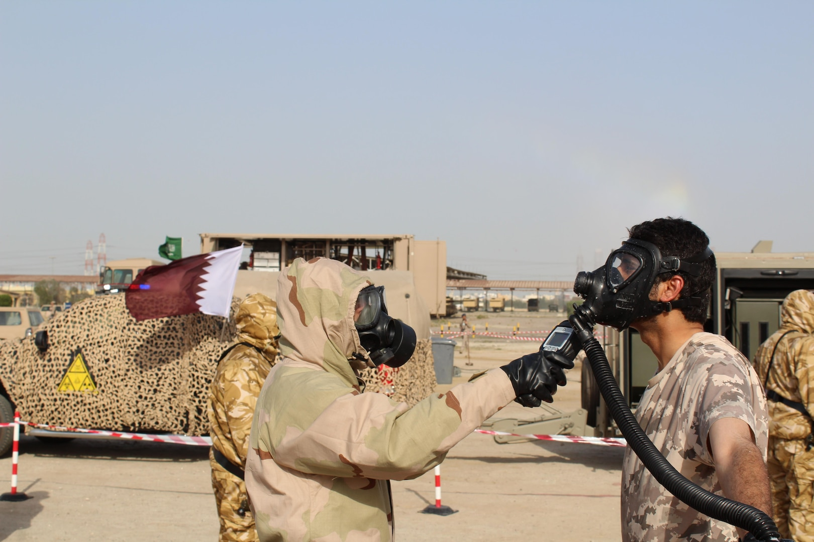Civilian and military personnel from Gulf Cooperation Council nations and the U.S. conduct chemical, biological, radiological, and nuclear response training as part of exercise Eagle Resolve 17, April 02, 2017, in Kuwait. In this hypothetical scenario, munitions loaded with a mustard gas chemical agent landed near a mosque resulting in 5-10 casualties. After detecting and identifying the chemical agent, response personnel deployed, triaged, evacuated and treated casualties, and secured the area. The exercise tests participant's ability to respond as a combined joint task force. Exercise Eagle Resolve is the premier U.S. multilateral exercise within the Arabian Peninsula. Since 1999, Eagle Resolve has become the leading engagement between the U.S. and Gulf Cooperation Council nations to collectively address the regional challenges associated with asymmetric warfare in a low-risk setting. (Photo by U.S. Army Staff Sgt. Francis O'Brien)