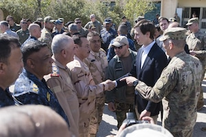 Army Lt. Gen. Stephen J. Townsend, commander of Combined Joint Task Force Operation Inherent Resolve, introduces Jared Kushner, the senior advisor to President Donald J. Trump, to Iraqi generals leading the fight against the Islamic State of Iraq and Syria in Mosul at Hamam al-Alil, a tactical assembly area about 10 miles from Mosul, April 4, 2017. DoD photo by Navy Petty Officer 2nd Class Dominique A. Pineiro