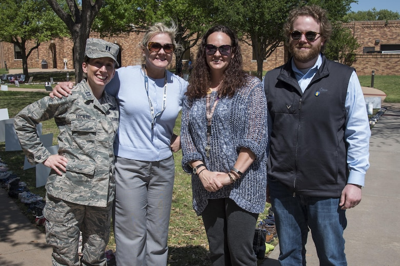 Sheppard's Family Advocacy staff helps facilitate the annual Walk of Knowledge April 4, 2017, at Midwestern State University in the spirit of Child Abuse Prevention Month. The event aims to raise awareness and educate the community on strategies for preventing child abuse. (U.S. Air Force photo by 2nd Lt. Jacqueline Jastrzebski)