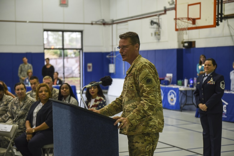 Col. Thomas Palenske, the commander of the 1st Special Operations Wing, gives remarks during a proclamation signing ceremony at the Youth Center, Hurlburt Field, Fla., April 3, 2017. Palenske and his wife, Jeryn, both signed proclamations for Month of the Military Child and Child Abuse Prevention. (U.S. Air Force photo by Senior Airman Jeff Parkinson)