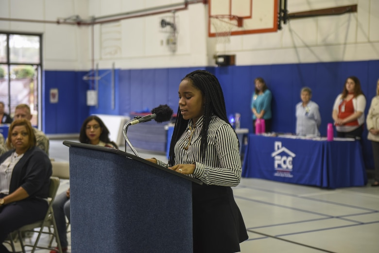 Amaya Edwards, the Youth Center's Youth of the Year, reads the Month of the Military Child and Child Abuse Prevention Month proclamations during a ceremony at the Youth Center, Hurlburt Field, Fla., April 3, 2017. Child Abuse Prevention Month is an annual observance in the U.S. dedicated to raising awareness and preventing child abuse. April has been designated Child Abuse Prevention Month in the United States since 1983. (U.S. Air Force photo by Senior Airman Jeff Parkinson)
