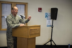 Air Force Col. George T.M. Dietrich III speaks at the Sexual Assault Prevention and Response Walk-A-Lap event, March 5 in the Elmendorf Fitness Center. Dietrich walked his own laps after his speech.