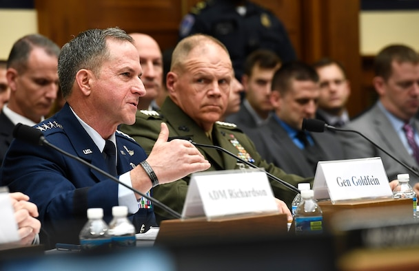 Air Force Chief of Staff Gen. David Goldfein testifies before the House Armed Services Committee April 5, 2017, in Washington, D.C., on the impacts of operating the service under a year-long continuing resolution.  Goldfein testified with his service chief counterparts. (U.S. Air Force photo/Scott M. Ash)