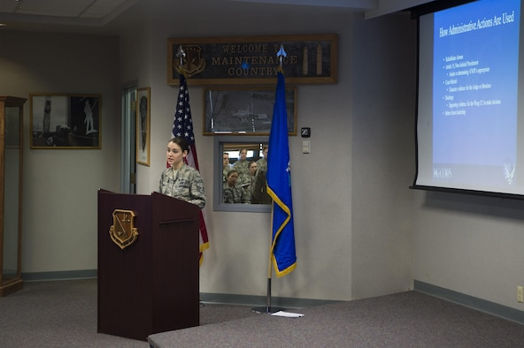 Staff Sgt. Jessica Thomas, 90th Missile Wing legal NCO in charge of military justice, leads a Military Justice 101: Administrative Paperwork class at F.E. Warren Air Force Base, Wyo., April 5, 2017. More than 50 military members attended the class to discover the ins and outs of progressive discipline and writing effective administrative actions. (U.S. Air Force photo by Staff Sgt. Christopher Ruano)