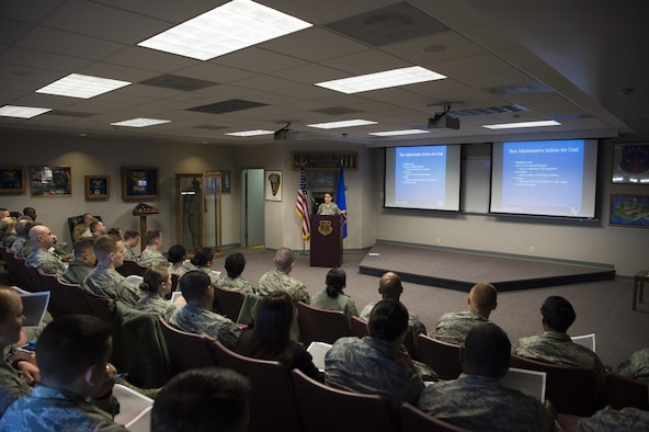 Staff Sgt. Jessica Thomas, 90th Missile Wing legal NCO in charge of military justice, leads a Military Justice 101: Administrative Paperwork class at F.E. Warren Air Force Base, Wyo., April 5, 2017. This was the second class the legal office offered due to the high demand by local supervisors and Airmen. (U.S. Air Force photo by Staff Sgt. Christopher Ruano)