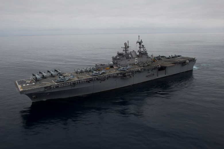 Amphibious assault ship USS America (LHA 6) transits off the coast of Southern California while conducting flight operations, April 3, 2017. America is currently underway with more than 1,000 Sailors and 1,600 embarked Marines conducting Amphibious Squadron/Marine Expeditionary Unit Integration operations in preparation for the ship's maiden deployment later this year.