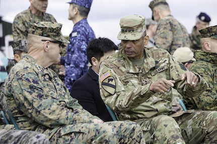 Gen. Vincent K. Brooks, United Nations Commander, Combined Forces Commander, and United States Forces Korea commander; and Gen. Leem Ho Young, Combined Forces Command deputy commander, welcome Pacific Amphibious Leaders Symposium (PALS) participants to South Korea, Mar. 17, 2017. PALS brings together senior leaders of allied and partner nations throughout the Indo-Asia-Pacific region to focus on maritime/amphibious operations interoperability. PALS 2017 is being hosted by the ROK Marine Corps, and is the first iteration to be hosted outside of the United States. U.S. Army photo by SFC Sean K. Harp   Gen. Vincent K. Brooks, United Nations Commander, Combined Forces Commander, and United States Forces Korea commander; Gen. Leem Ho Young, Combined Forces Command deputy commander; and Gen. Lee Sun-jin, Gen. Lee, Sun-Jin, Chairman of the Republic of Korea Joint Chiefs of Staff, attended the Pacific Amphibious Leaders Symposium (PALS) welcome dinner in Seongnam, South Korea, Apr. 1, 2017. PALS brings together senior leaders of allied and partner nations throughout the Indo-Asia-Pacific region to focus on maritime/amphibious operations interoperability. PALS 2017 is being hosted by the ROK Marine Corps, and is the first iteration to be hosted outside of the United States. U.S. Army photo by SFC Sean K. Harp