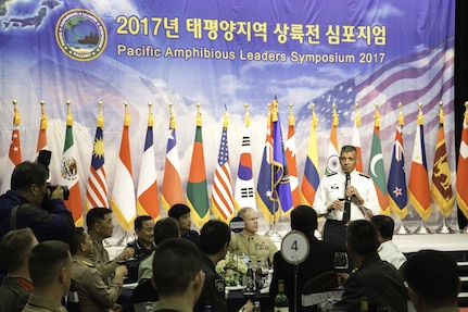 Gen. Vincent K. Brooks, United Nations Commander, Combined Forces Commander, and United States Forces Korea commander; Gen. Leem Ho Young, Combined Forces Command deputy commander; and Gen. Lee Sun-jin, Gen. Lee, Sun-Jin, Chairman of the Republic of Korea Joint Chiefs of Staff, attended the Pacific Amphibious Leaders Symposium (PALS) welcome dinner in Seongnam, South Korea, Apr. 1, 2017. PALS brings together senior leaders of allied and partner nations throughout the Indo-Asia-Pacific region to focus on maritime/amphibious operations interoperability. PALS 2017 is being hosted by the ROK Marine Corps, and is the first iteration to be hosted outside of the United States. U.S. Army photo by SFC Sean K. Harp