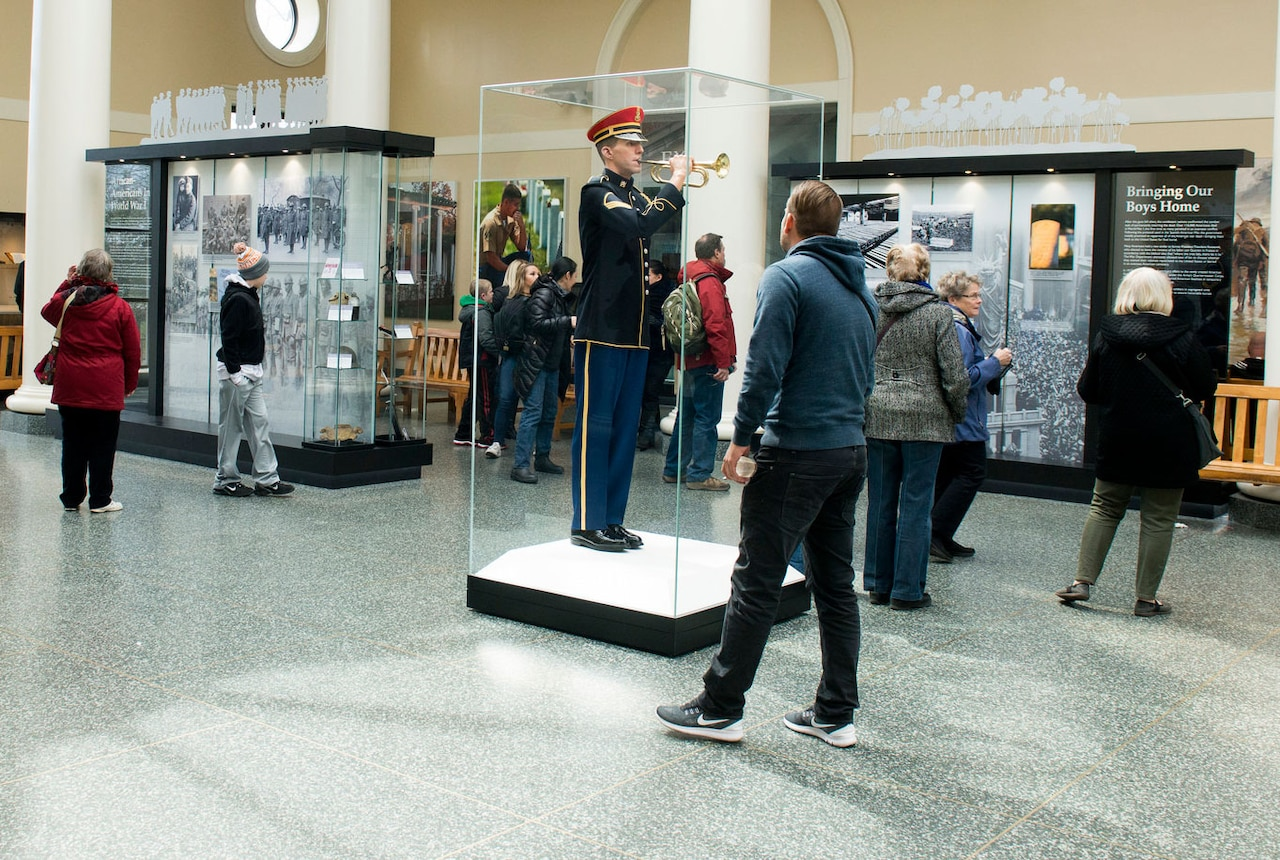 In a joint effort with the American Battle Monuments Commission, Arlington National Cemetery officials opened an exhibit in the cemetery's Welcome Center on March 31, 2017, to commemorate the 100th anniversary of World War I. The exhibit will remain open until November 2018. Army photo by Rachel Larue