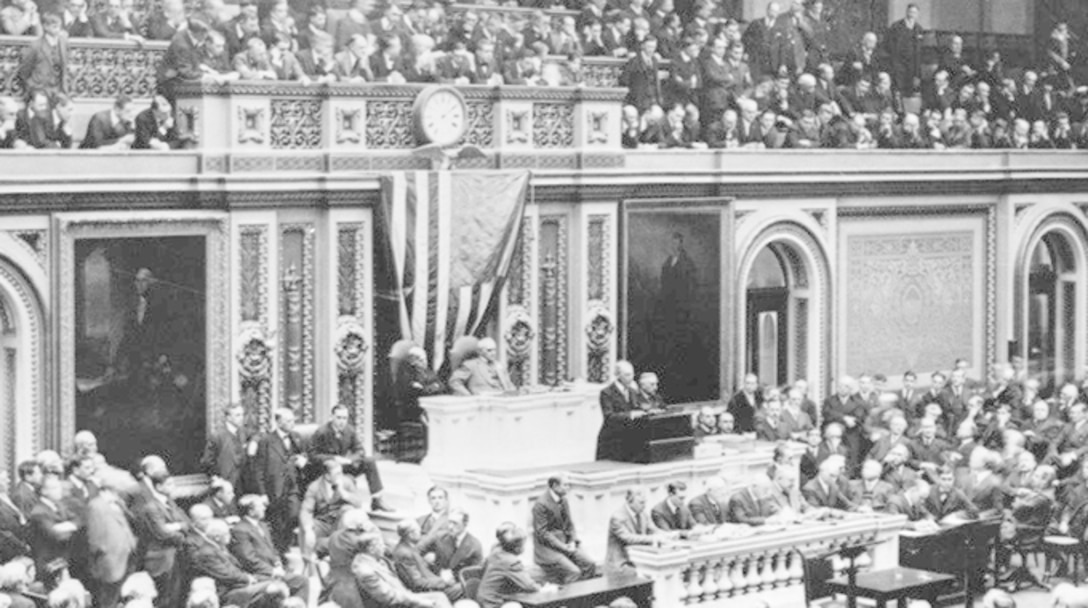 President Woodrow Wilson requests a declaration of war from Congress April 2, 1917. (Robins Air Force Base History Office supplied photo)