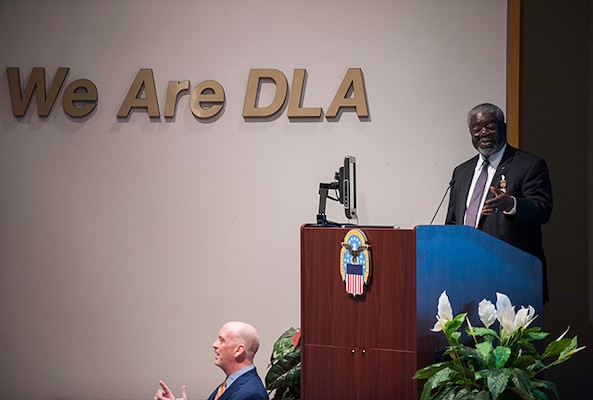 Milton Lewis, Acquisition Executive at DLA Land and Maritime, reminisced about assignments and experiences during his career during a March 31 retirement ceremony.