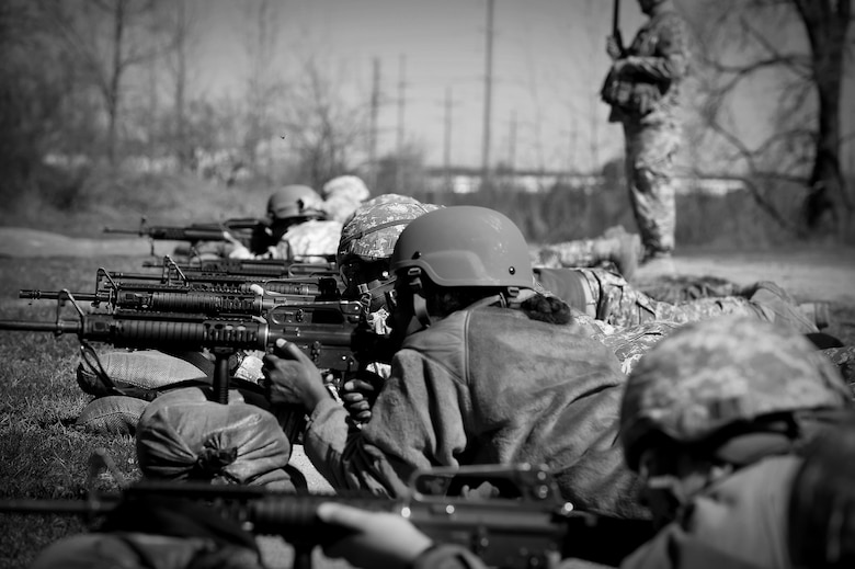 Army Reserve Soldiers assigned to the 85th Support Command prepare to engage their targets during an individual weapons qualification at the Joliet Training Area, Apr. 1, 2017. The headquarters staff spent one battle assembly day at the qualification range achieving a 100 percent qualification rate on the M-16 rifle and an 88 percent qualification rate on the M9 pistol.  (U.S. Army Reserve photo by Sgt. Aaron Berogan)