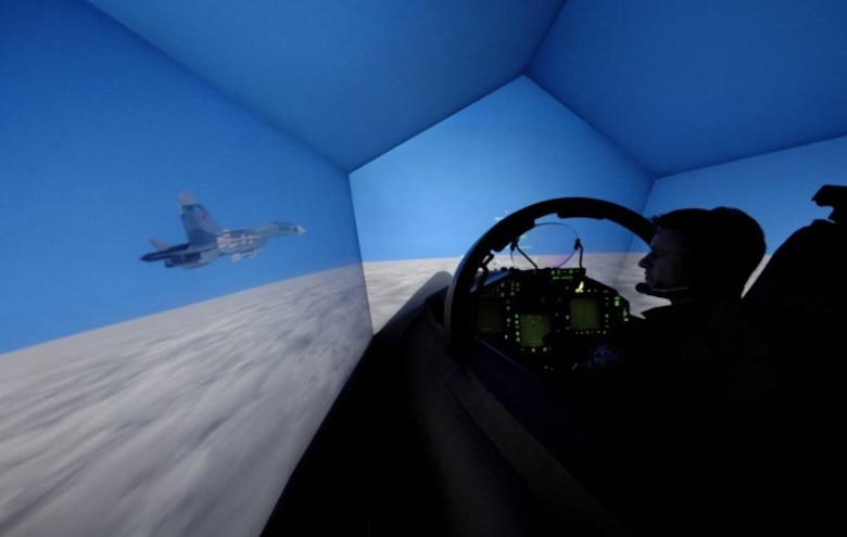 An illustration of high-fidelity flight simulator, the simulator will provide aircrew members advanced training.  Virtual training is extremely valuable, it is not a replacement for live training. (Courtesy photo)