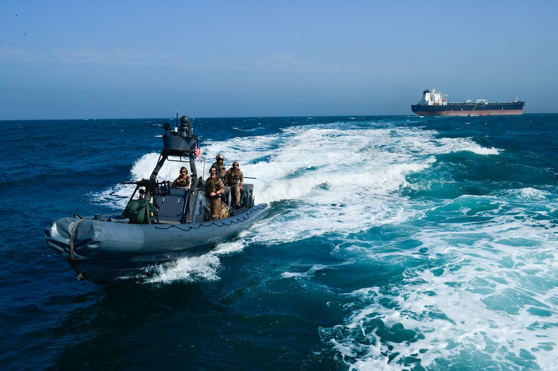 KUWAIT - A U.S. Navy special warfare combatant craft crew returns from a simulated mission to recover a hijacked tanker Apr 3, in Kuwait territorial waters as part of exercise Eagle Resolve 2017. (U.S. Army Photo by Master Sgt. Timothy Lawn)